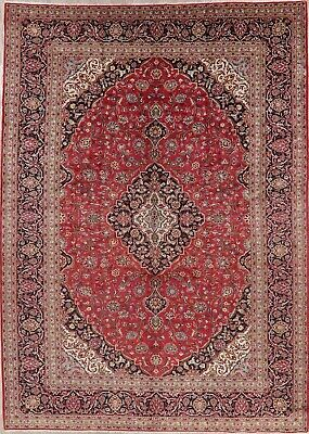 10 X 14 Persian Rug - Vintage Traditional Floral Persian Oriental Area Rug BIG Hand-Knotted Wool 10x14