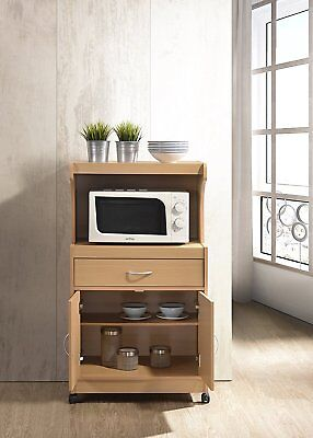 (Hodedah Microwave Cart with One Drawer, Two Doors, and Shelf for Storage, Beech)