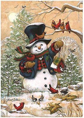 """Winter Friends Garden Flag Snowman & Cardinals Winter Seasonal Banner 12.5""""x18"""""""