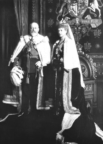 British King Edward VII and Queen Alexandra at Opening of Parliament-1901 Photo