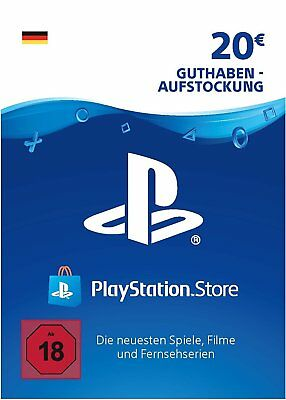DE PSN Network Card 20€ EUR - 20 Euro Playstation Prepaid Key Sony PS3 PS4 PSP