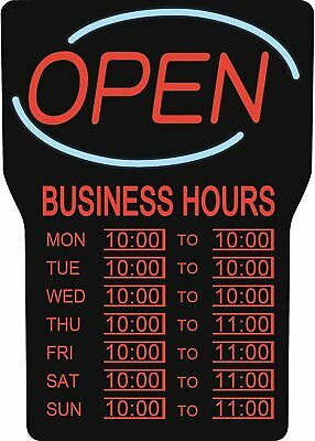 Royal Sovereign Illuminated Led Business Open Sign With Hours Rsb-1342eblack
