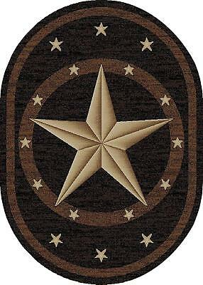 Western Star OVAL Area Rug-Texas Southwest Cowboy Ranch Black Brown 2'3