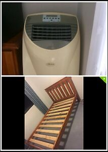 Portable air conditioner + queen size wooden bed and mattress $300 Wolli Creek Rockdale Area Preview