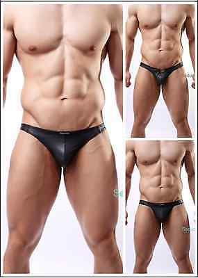 New Men's Sexy Faux Leather Pouch Underwear Buckle Thongs Bikinis Brief Black ()
