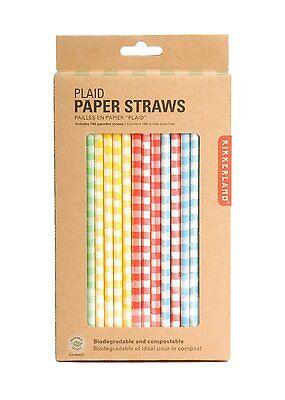 Kikkerland Paper Drinking Straws Box 144 GINGHAM COLOR PLAID biodegradable CU204