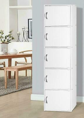 5 Door Storage Cabinet Shelf Organizer Bookcase Pantry Cupboard Cubby Closet NEW