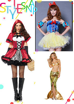 Premium Little Red Riding Hood Snow White Mermaid Halloween Costume Adult Women - Premium Adult Halloween Costumes