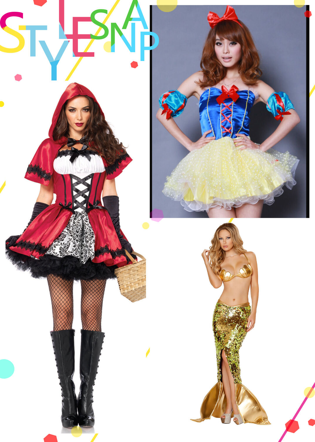 Premium Little Red Riding Hood Snow White Mermaid Halloween Costume Adult Women
