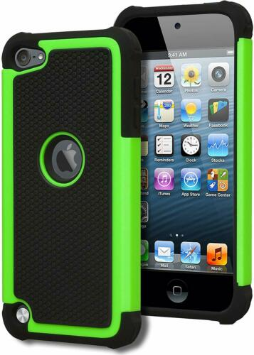 For iPod Touch 5th 6th 7th Gen - HARD HYBRID HIGH IMPACT ARMOR CASE GREEN BLACK