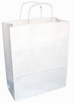 30 WHITE TWIST HANDLE PAPER CARRIER BAGS 10