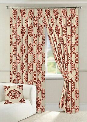 GRACE MULTI CREAM RED TAPE TOP PENCIL PLEAT HALF PANAMA LINED CURTAINS  66X108   Multi Pleat Tape