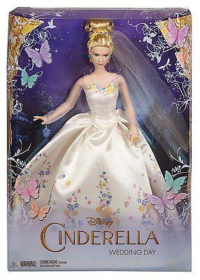 "DISNEY CINDERELLA WEDDING DAY 12"" DOLL MOVIE FIGURE WHITE DRESS ELLA 2014 NEW"