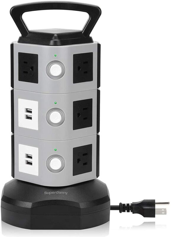 Power Surge Protector Power Strip Tower with USB Ports 10 Outlets Power Outlet