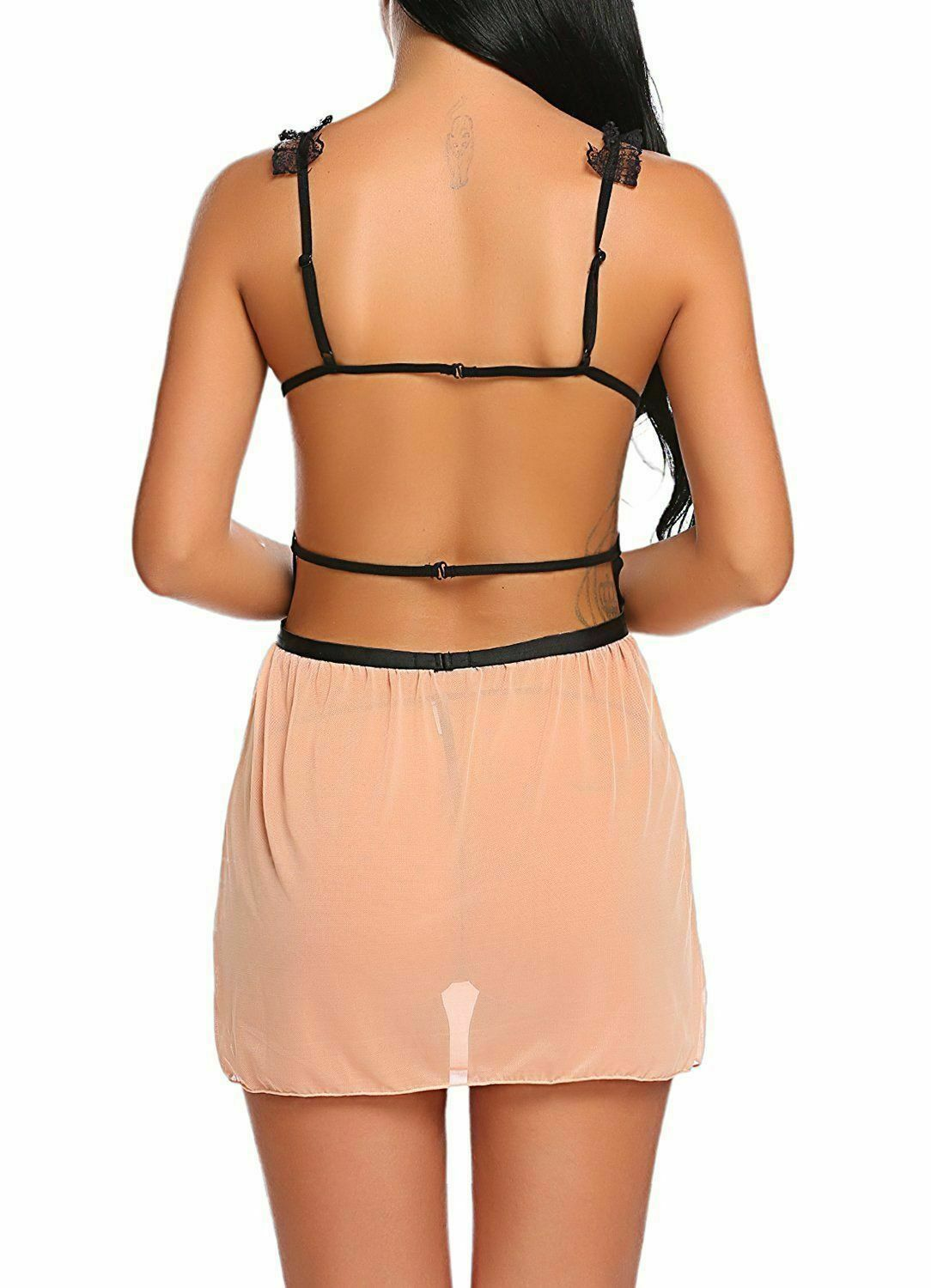 US Sexy-Lingerie Women Backless Open Cup Babydoll Sleepwear Lace Dress G-String Clothing, Shoes & Accessories