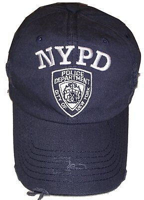 NYPD Baseball Hat New York Police Department Distressed White Logo Navy - Baseball New Blue Hat