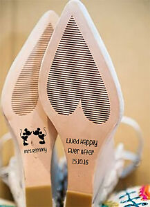 PERSONALISED WEDDING SHOE DECALS / STICKERS BRIDE MINNIE AND MICKEY MOUSE THEMED