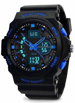 VDSOW Kinder und Jugendliche Analog-Digital Quarz Uhr mit Schwarz Silikon