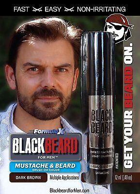 DARK BROWN Blackbeard for Men Mens Hair Colour Mascara Beard Moustache Eyebrows
