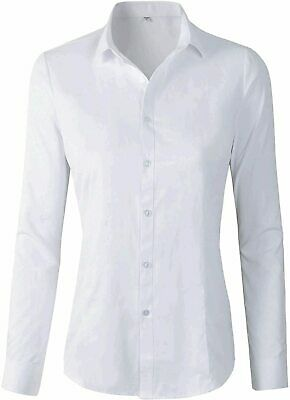 Women s Formal Work Wear White Simple Shirt, A680 White, Size X-Small QPF2 - $13.99