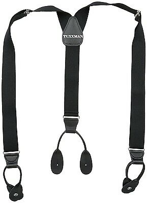 NEW Mens Black Button On Suspenders Adj. Y Back Tuxedo Braces Leather TUXXMAN