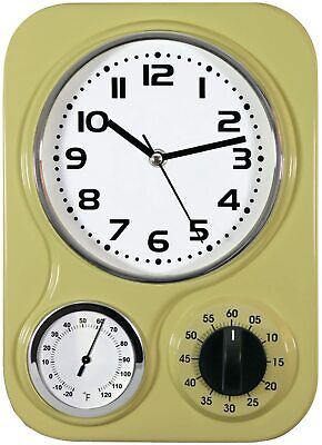 """Northpoint Kitchen Clock With Temperature & Timer Metal Retro Style Tan 9"""" x 13"""""""