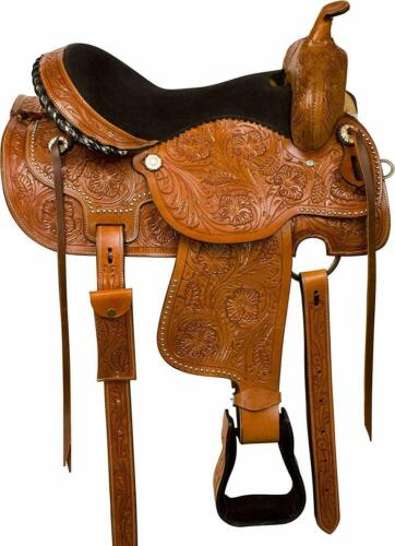 Western Comfy Barrel Racing Pleasure Trail Horse Leather Saddle 14-18 Inches