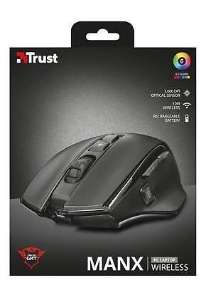 Trust GXT 140 Manx Wiederaufladbare Kabellose Gaming Maus schwarz NEU&OVP