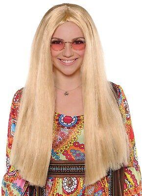 Damen Lang Blonde Hippie Perücke 60er Jahre 1960er 70er Sechziger Kostüm (Sechzig Kostüme)