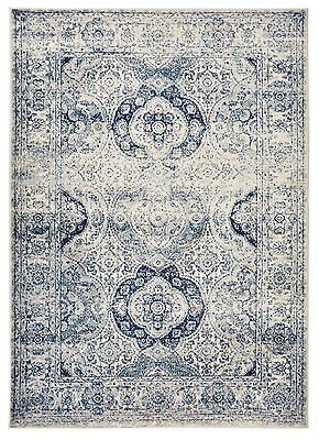 Aubusson Area - Oriental Vintage Persian Aubusson Navy & Ivory Area Rug 5' Round, 5'x7', 8'x10'