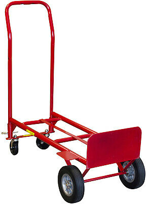2-in-1 Convertible Hand Truck Flat Cart Wheel Utility Universal 600 Lb Capacity