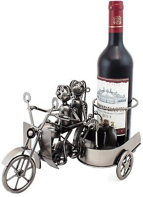 "BRUBAKER Wine Bottle Holder ""Motorcycle Couple with Dog in Sidecar"" - Metal"