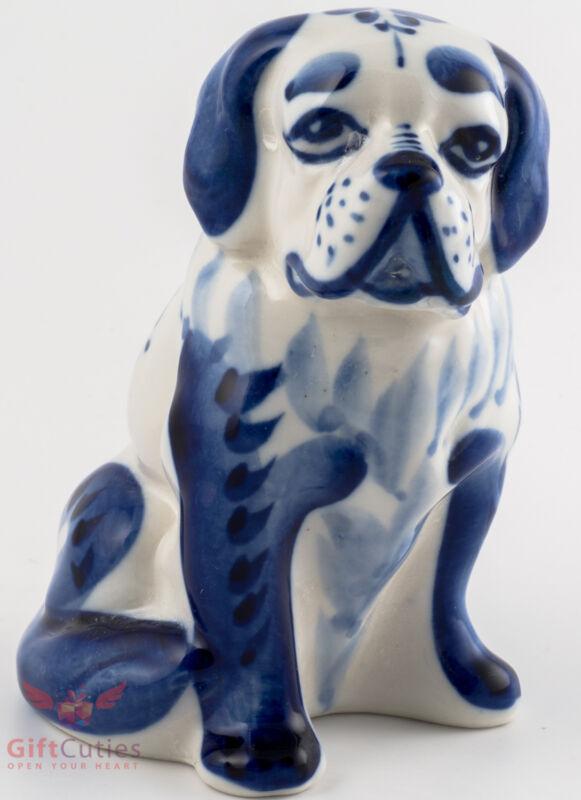 Porcelain St. Saint Bernard Dog Figurine Souvenir Gzhel colors handmade