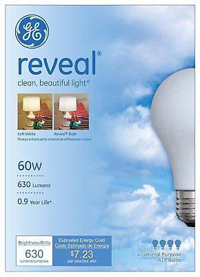 4  New Reveal Ge Incandescent 60 Watt Light Bulbs A19 48688