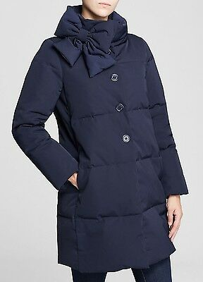 NWT Kate Spade Funnel Neck Bow Puffer Down Navy Blue Jacket Coat size Medium