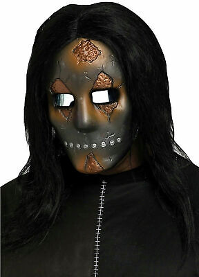 Scary Halloween Costumes Babies (Scary Horror Mask w/ Hair Baby Doll Soul Stealer Costume Halloween Accessory)