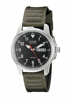 $99.00 - Citizen BM8180-03E Men's Eco Drive Military Green Fabric Band Analog Watch