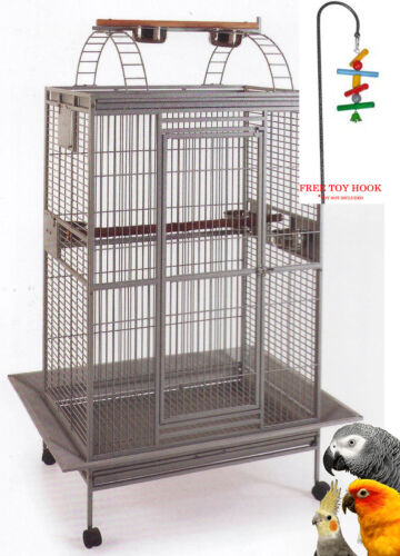 "78"" Open PlayTop Double Ladder Parrot Cage Cockatiel Macaw Conure Aviary ToyHood"