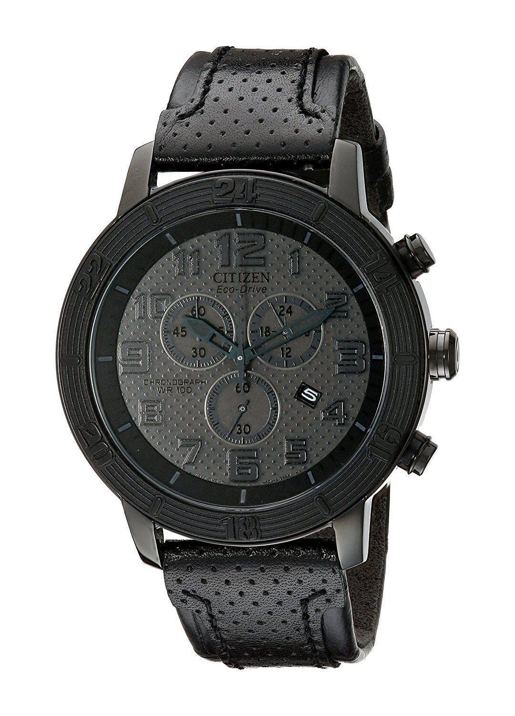 Citizen Eco-Drive Men's BRT Chronograph Leather Strap 46mm Watch AT2205-01E