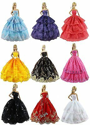 6pcs Fashion Princess Dress Outfit Party Wedding Clothes Random for Barbie Doll