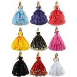 6pcs Fashion Princess Dresses Outfits Party Wedding Clothes for Barbie Doll