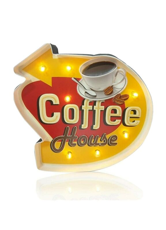 Vintage Coffee House Light Sign -  12in x 11.8in