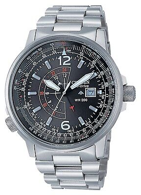 NEW Citizen Nighthawk Eco Drive Pilot Date Stainless Steel BJ7010-59E