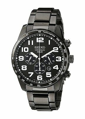 Seiko Solar Chronograph Black Ion-Plated Stainless Steel Men's Watch (SSC231)
