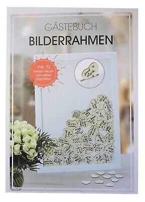 Gästebuch Bilderrahmen Hochzeit 30 x 42 cm in Weiß mit 72 Herzen zum Beschriften