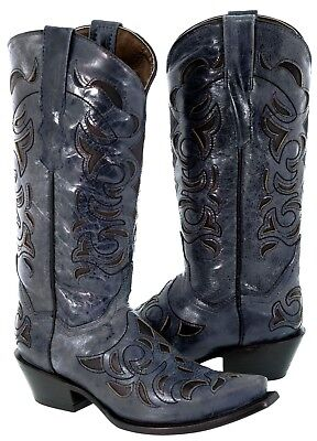 Womens Denim Blue Overlay Distressed Leather Cowboy Boots Ca