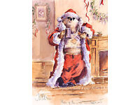 Christmas cards pack of 10 by J Walker Funny Badger digging in snow C251X