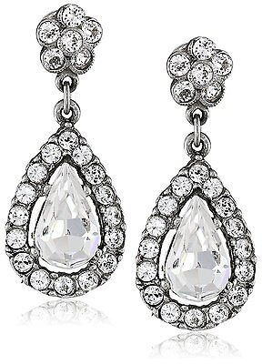 Ben-Amun by Isaac Manevitz Silver Crystal Teardrop Earrings Made in USA NWT