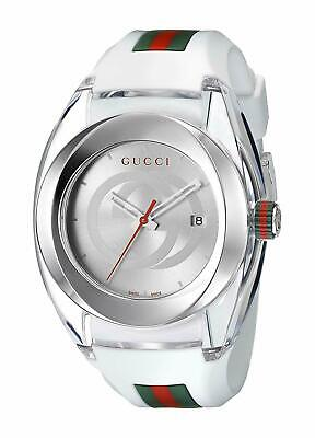 Gucci SYNC XXL Stainless Steel Watch with White Rubber Bracelet Model: YA137102 Steel White Rubber Watch