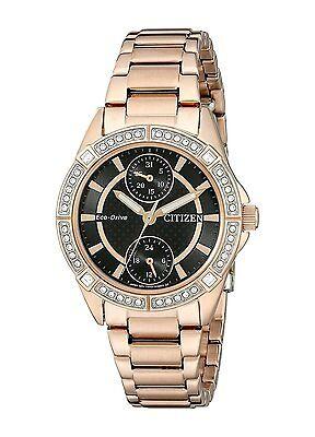 Citizen Eco-Drive Women's FD3003-58E Swarovski Crystal Accents Rose Gold Watch
